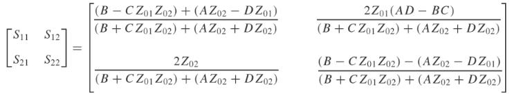 Transmission line S-parameters equation