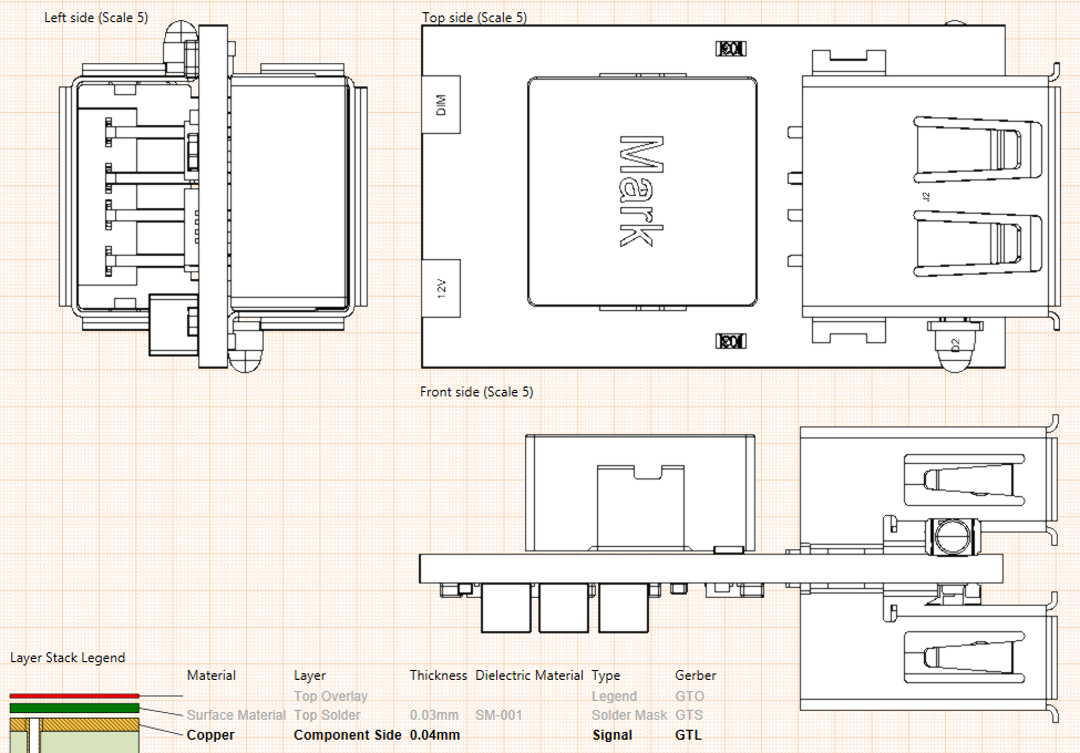 PCB fabrication and assembly drawings USB charger