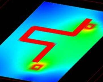 Electric field distribution in right-angle PCB traces