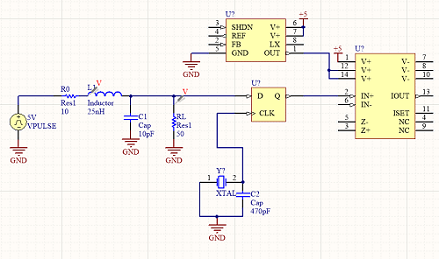 Circuit schematic for a transmission line model
