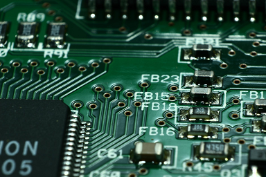 Traces on a green PCB layout
