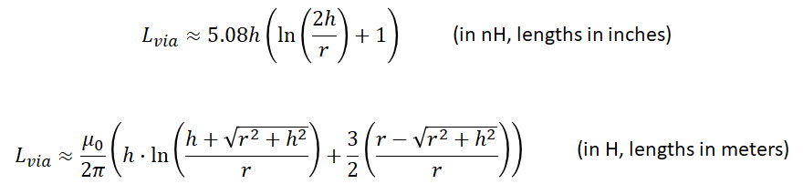 Via inductance equations