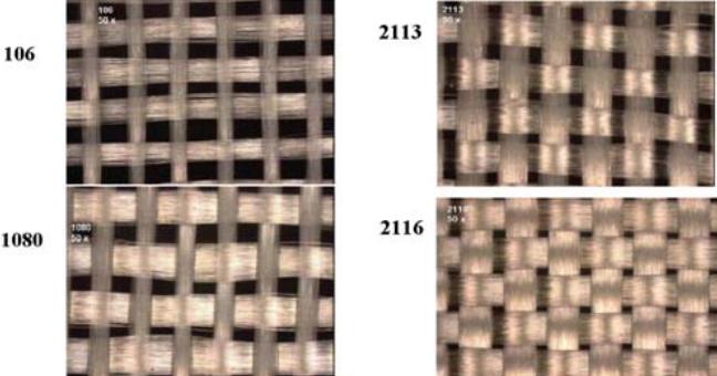 Fiber weave effect in a fiberglass substrate.