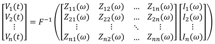 Z-parameters matrix inverse Fourier transform